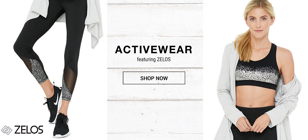 A woman wearing black & white yoga pants & black & white sneakers. A woman wearing a white sweater & a black & white sports bra, Activewear featuring Zelos. Shop now.