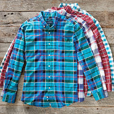 An assortment of plaid button-front shirts in a variety of colors. Shop casual shirts.