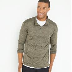 A young man wearing an olive green quarter-zip fleece, a white T-shirt & black shorts. Shop active & outdoors.
