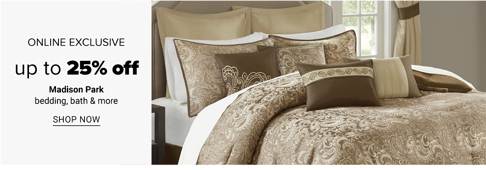 A bed made with beige paisley print comforter & matching pillows. Online Exclusive. Up to 25% off Madison Park bedding, bath & more. Shop now.