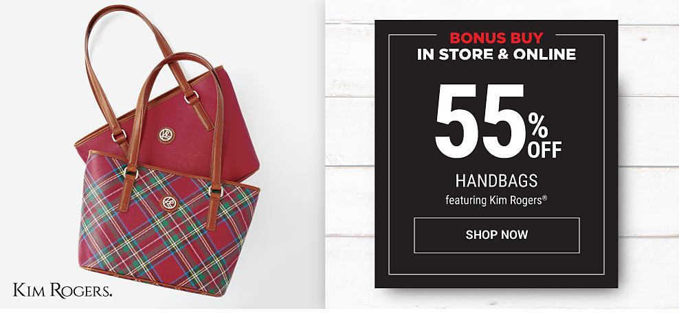 A red, blue, green & yellow plaid leather tote & a burgundy leather tote. Black Friday Leaks. In store & online. Bonus Buy. 55% off handbags featuring Kim Rogers. Shop now.
