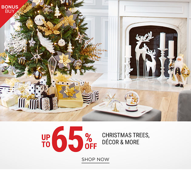 Presents under a fully decorated Christmas tree surrounded by other holiday decor pieces. Bonus Buy. Up to 65% off Christmas trees, decor & more. Shop now.