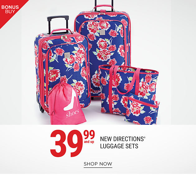 A navy, fuchsia, green & yellow floral print 5-piece luggage set. Bonus Buy. 39.99 & up New Directions luggage. Shop now.
