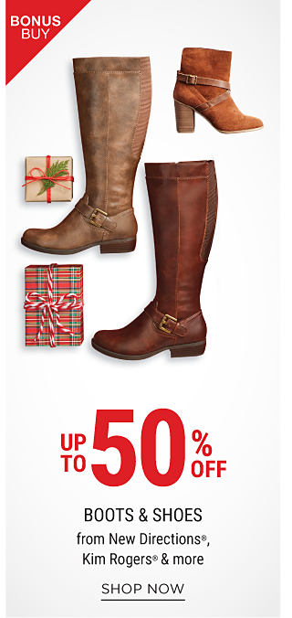 An assortment of leather & suede women's boots & booties in a variety of colors & styles. Bonus Buy. Up to 50% off boots & shoes from New Directions, Kim Rogers & more. Shop now.