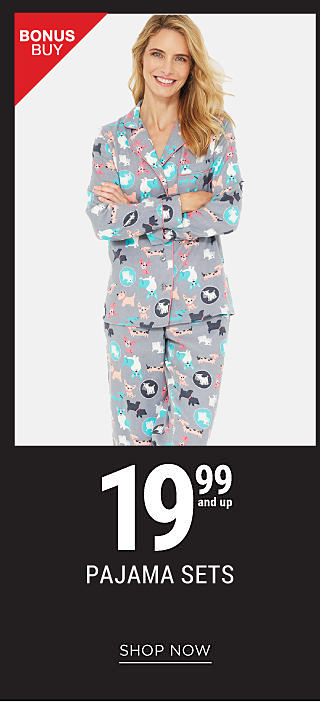 A young woman weairng a black, white & red Oh Deer sleep top. & red & white print sleep pants. Bonus Buy. 19.99 folded pajama sets from Kim Rogers , New Directions & more. Shop now.