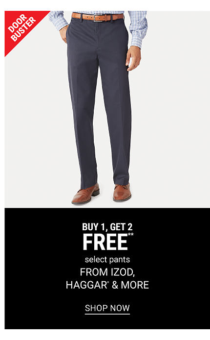 A man wearing a blue & white check long sleeved button front shirt, navy pants & brown leather shoes. DoorBuster. Buy 1, Get 2 Free select pants from Izod, Haggar & more. Free or discounted items must be of equal or lesser value. Shop now.