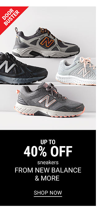 An assortment of New Balance sneakers in a variety of colors & styles. DoorBuster. up to 40% off sneakers from New Balance & more. Shop now.