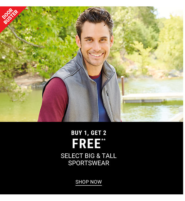 A man wearing a gray fleece vest over a burgundy & blue long sleeved shirt. DoorBuster. Buy 1, Get 2 Free select big & tall sportswear. Free or discounted items must be of equal or lesser value. Shop now.