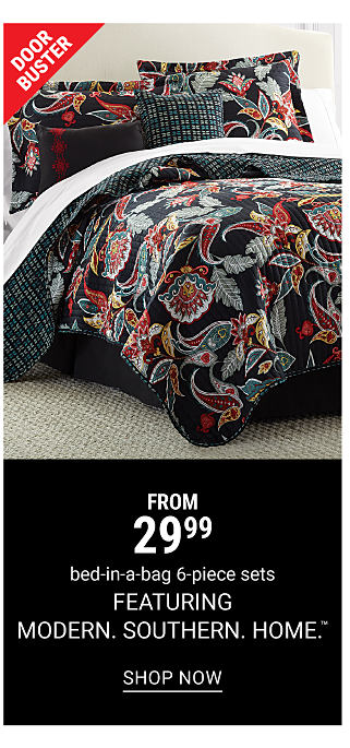 A black, gray, red and yellow patterned bedding set. Doorbuster. From 29.99, bed-in-a-bag 6-piece sets featuring Modern. Southern. Home. Shop now.