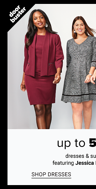 A woman wearing a burgundy blazer over a burgundy dress standing next to a woman wearing a gray long sleeved dress with black piping trim, a woman wearing a black, red, green, yellow & white plaid long sleeved dress & a woman wearing a light gray pant suit over a black top. Doorbuster. Up to 50% off dresses & suit separates from Jessica Howard & Kasper. Shop dresses.