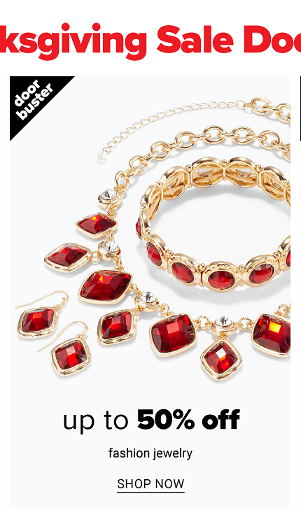 An assortment of gold tone & red gem earrings, necklaces & bracelets. Doorbuster. Up to 50% off fashion jewelry. Shop now.