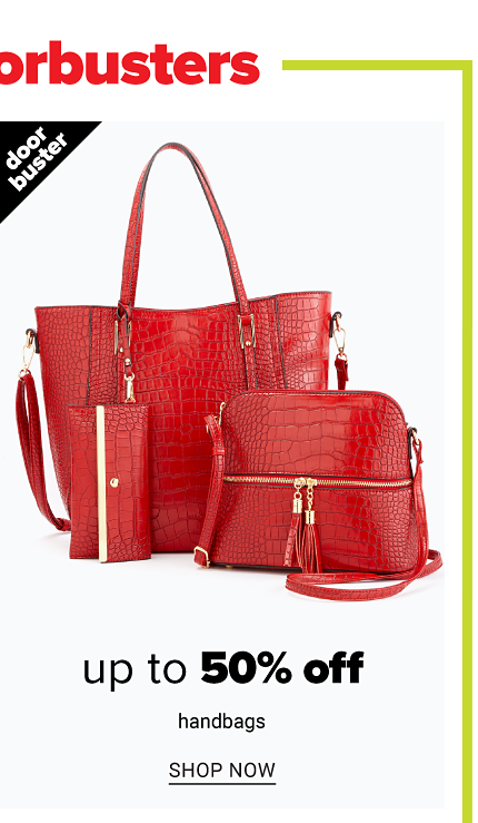 A red leather bucket tote, red leather wallet & red leather handbag. Doorbuster. Up to 50% off handbags. Shop now.