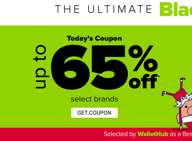 A cartoon elf doing a cartwheel. The ultimate Black Friday Bash! Today's coupon, up to 65% off select brands. Get coupon.