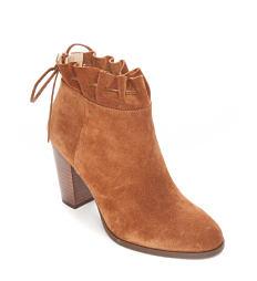 A brown suede bootie. Shop boots.