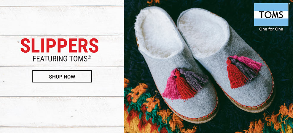 A pair of holiday-themed slippers. Slippers featuring Toms. Shop now.