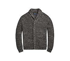 A dark gray cardigan. Shop sweaters.