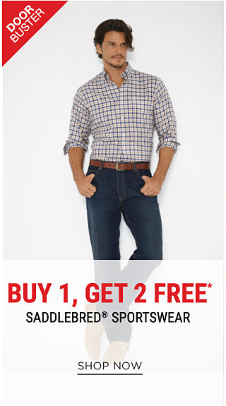 A man wearing a black & white check button-front shirt & blue jeans. DoorBuster. Buy 1, Get 2 Free Saddlebred sportswear. Free items must be of equal or lesser value. Shop now.