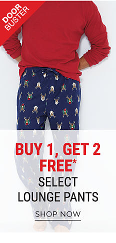 A man wearing a red long-sleeved sleep shirt & multi-colored deer head print lounge pants. DoorBuster. Buy 1, Get 2 Free select lounge pants. Free items must be of equal or lesser value. Shop now.