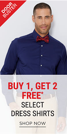 A man wearing a dark blue button-front dress shirt & a red & navy bow tie. DoorBuster. Buy 1, Get 2 Free select stretch dress shirts. Free items must be of equal or lesser value. Shop now.