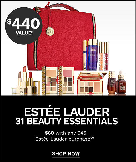 A red makeup bag and a variety of beauty and skincare products. $440 value! Estee Lauder 31 beauty essentials. $68 with any $45 Estee Lauder purchase. Shop now