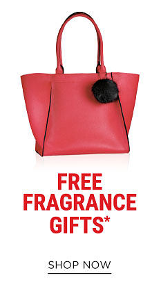 A red leather tote. Free Fragrance Gifts with qualifying purchase. While quantities last. Shop now.