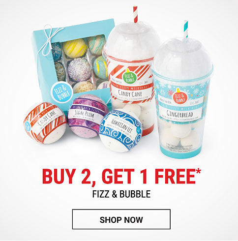 An assortment of Fizz & Bubble bath products. Buy 2, Get 1 Free Fizz & Bubble. Free item must be of equal or lesser value. Shop now.
