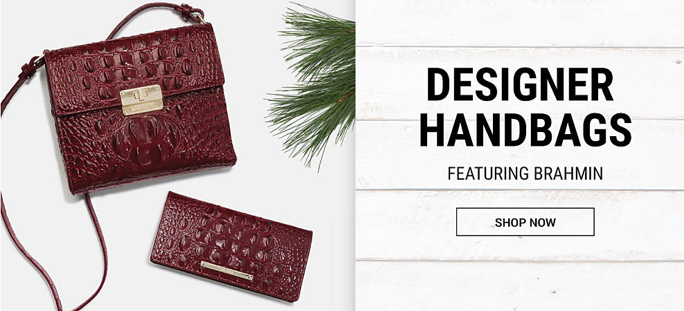 A burgundy croco leather handbag & a burgundy croco leather wallet. Designer Handbags featuring Brahmin. Shop now.