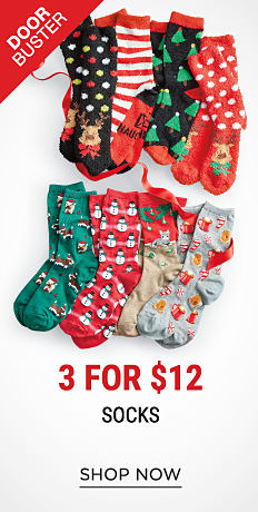 An assortment of holiday-themed socks. DoorBuster. 3 for $12 socks. Shop now.