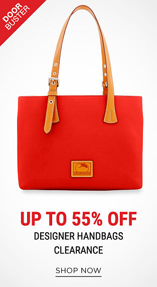 A red handbag with brown leather handlles & trim. DoorBuster. Up to 55% off designer handbags clearance. Shop now.