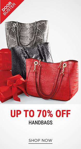 A red leather handbag, a black leather handbag & a gray snakeskin handbag. DoorBuster. Up to 70% off handbags. Shop now.