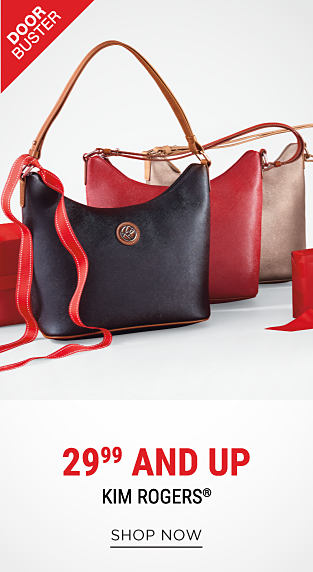 A black leather handbag, a red leather handbag & a gray leather handbag. DoorBuster. 29.99 & up Kim Rogers. Shop now.