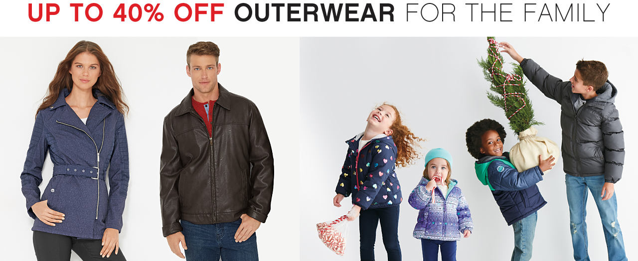 A woman, a man, 2 boys & 2 girls wearing various styles of winter coats & jeans. Up to 40% off outerwear for the family.