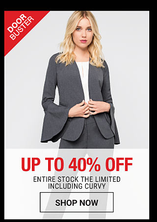 A woman wearing a gray jacket, matching pants & a white top. DoorBuster. Up to 40% off Entire Stock The Limited including curvy. Shop now.