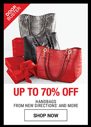 A red leather handbag, a black leather handbag & a gray snakeskin handbag. DoorBuster. Up to 70% off handbags from New Directions & more. Shop now.