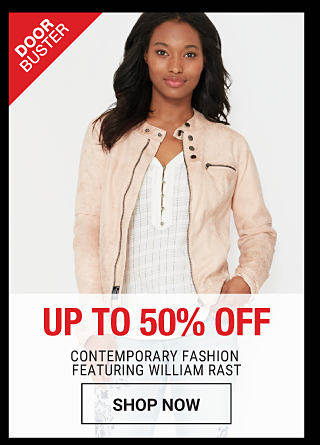 A woman wearing a cream colored jacket & a white top. DoorBuster. Up to 50% off contemporary fashion featuring William Rast. Shop now.