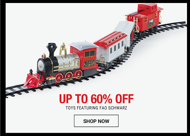 A toy train on a train track. Up to 60% off toys featuring F A O Schwarz. Shop now.