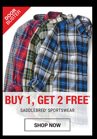 An assortment of men's plaid button-front shirts in a variety of colors. DoorBuster. Buy 1, Get 2 Free Saddlebred sportswear. Free items must be of equal or lesser value. Shop now.