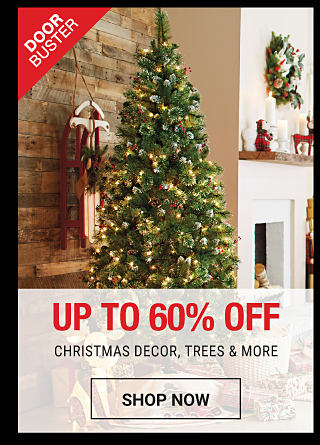 A Christmas tree decorated with ornaments. DoorBuster. Up to 60% off Christmas trees, decor & more. Shop now.