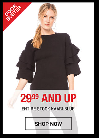 A woman wearing a triple-tier flutter sleeve Kaari Blue sweater in black. 29.99 and up. Shop now.