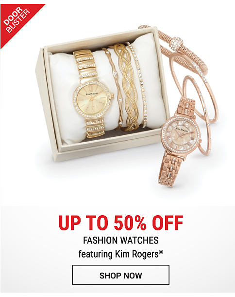 2 women's fashion watches. DoorBuster. Up to 50% off fashion watches featuring Kim Rogers. Shop now.