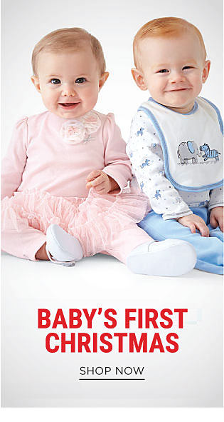 A baby girl wearing a pink top with rose neckline detail, a frilly pink skirt & pink pants & white shoes sitting next to a baby boy wearing a blue & white animal print shirt, a blue & white animal print bib & blue pants. Doorbuster. Up to 60% off baby apparel. Shop now.