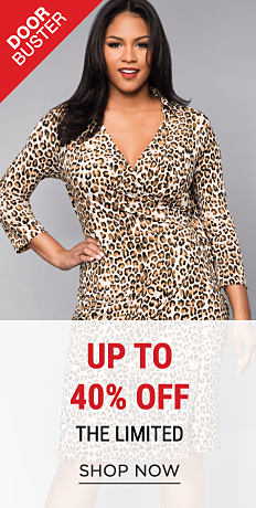 A woman wearing a leopard print dress. DoorBuster. Up to 40% off The Limited. Shop now.