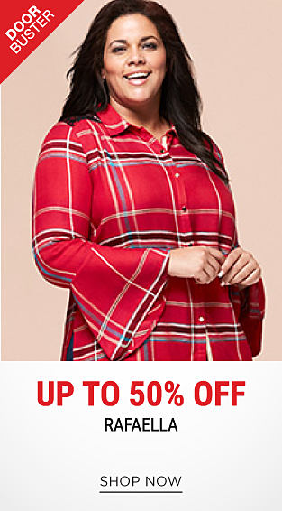A woman wearing a red, black, white & blue plaid button-front blouse. DoorBuster. Up to 50% off Rafaella. Shop now.