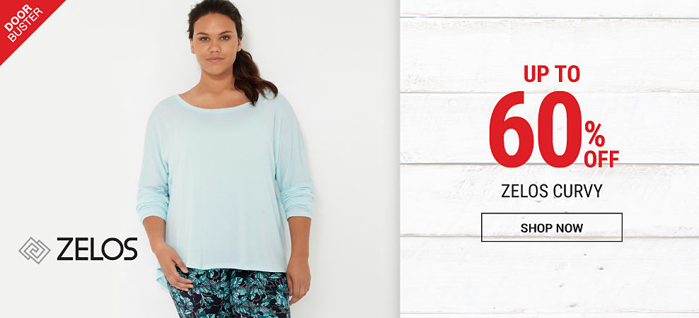 A woman wearing a light blue top & teal & black workut pants. DoorBuster. Up to 60% off Zelos curvy. Shop now.