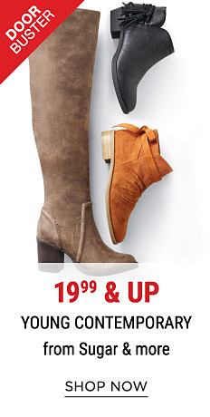 An assortment of leather & suede women's boots & booties in a variety of colors & styles. DoorBuster. 19.99 & up young contemporary styles from Sugar & more. Shop now.
