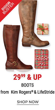 A brown leather tall boot & a beige leather tall boot. DoorBuster. 29.99 & up boots from Kim Rogers & LifeStride. Shop now.