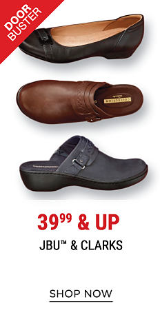 An assortment of leather women's shoes in a variety of colors & styles. DoorBuster. 39.99 & up. JBU & Clarks. Shop now.