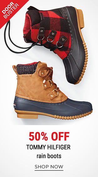 An assortment of duck boots in a variety of colors & styles. DoorBuster. 50% off Tommy Hilfiger rain boots. Shop now.