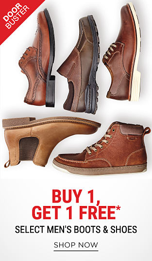 An assortment of leather men's shoes & boots in a variety of colors & styles. DoorBuster. Buy 1, Get 1 Free select men's boots & shoes. Free item must be of equal or lesser value. Shop now.
