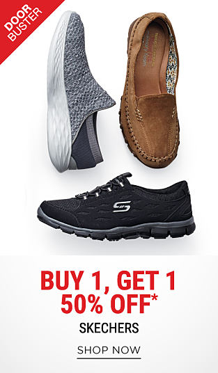 An assortment of Skechers sneakers in a variety of colors & styles. DoorBuster. Buy 1, Get 1 50% off Skechers. Discounted item must be of equal or lesser value. Shop now.